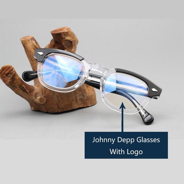 Johnny Depp lunettes optique lunettes cadre hommes femmes acétate lunettes cadre rétro marque avec Logo qualité supérieure 313