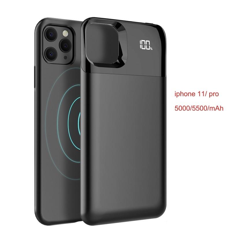 Magnetic Wireless Charging iphone 11 case 5500mAh Power bank case чехол на айфон 11 /11 pro /11 pro max batterie externe