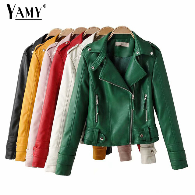 Black PU green leather jacket women motorcycle biker jacket moto vintage faux leather jacket red coat fall 2019