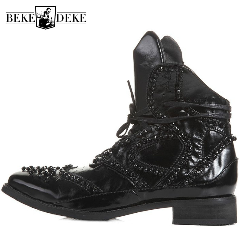 Hiver britannique bottes hommes Designer cristal perlé Vintage bottines pointues en cuir véritable Punk chaussures noir haut baskets