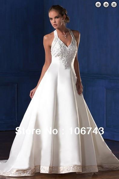 Free Shipping Yes 2016 New Arrival Halter Top Fasion De Romantic Floor-Length Decoration Custom Bead Bridal Beach Wedding Dress