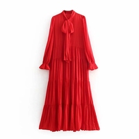 2019 Red Women Twill Stain Dress Spring Autumn Womens Layered Pleated Dresses Ladies Bow Elegant Party Dress Girls Chic vestidos