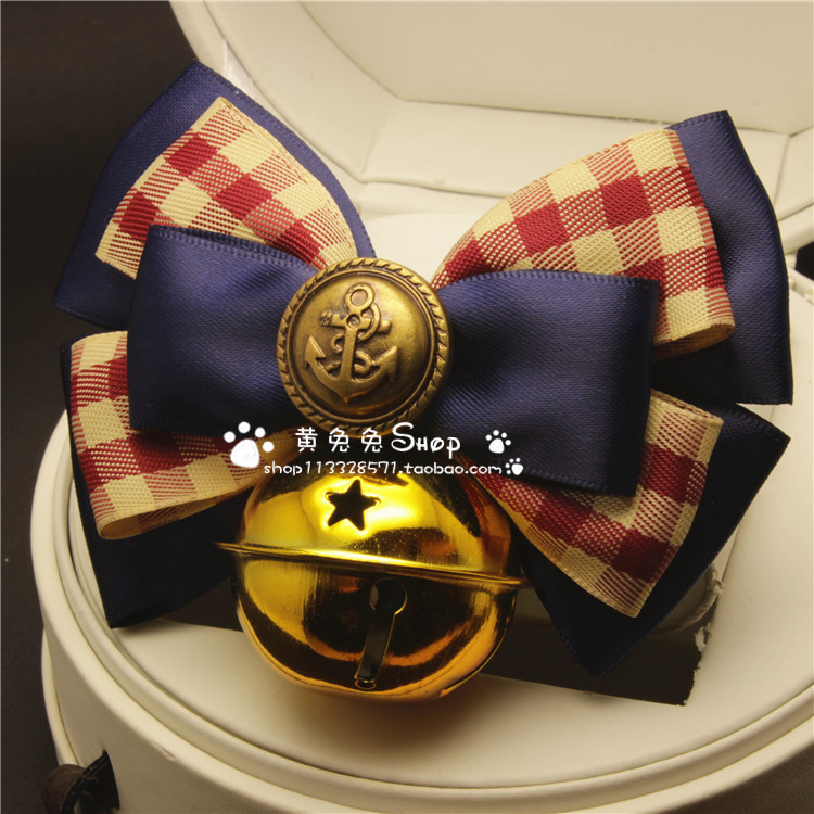 Yellow Bunny Hot Selling Handmade Pet Tie Accessories Dogs And Cats Large Bell Neck Ring Bow American-Style College