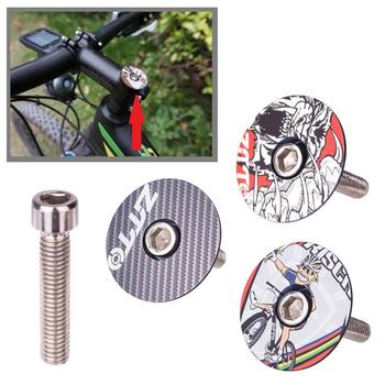 Aubtec 1-1/8 Carbon Fiber/Alloy MTB Road Bike Bicycle Headset Stem Top Cap Cover Bolt Bicycle Headset Fork Top Cap image