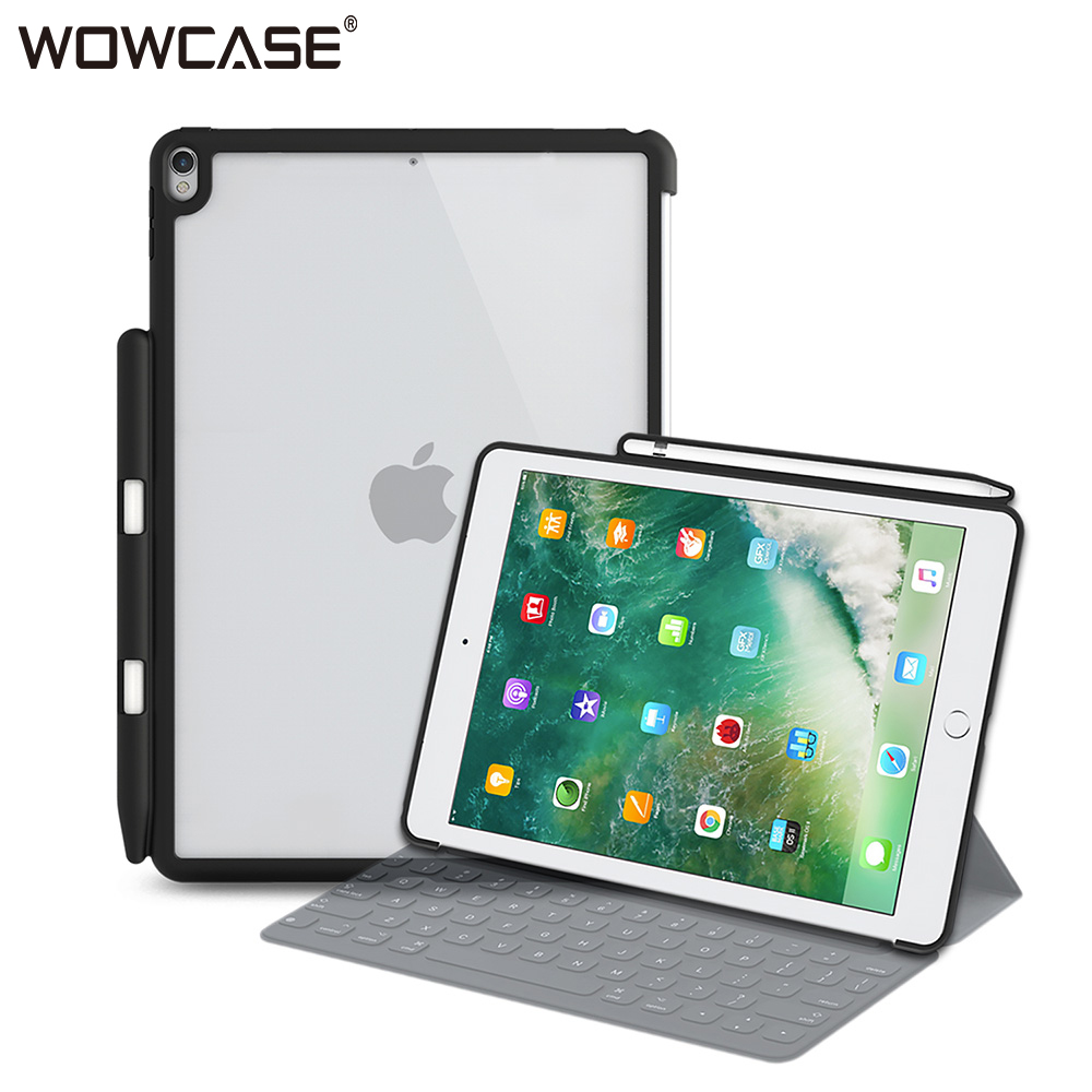 WOWCASE Pencil Holder for iPad 9.7 Case Transparent Soft Edge Back Cover for iPad 9.7 2018 2017 5th 6th Gen Match Apple Keyboard