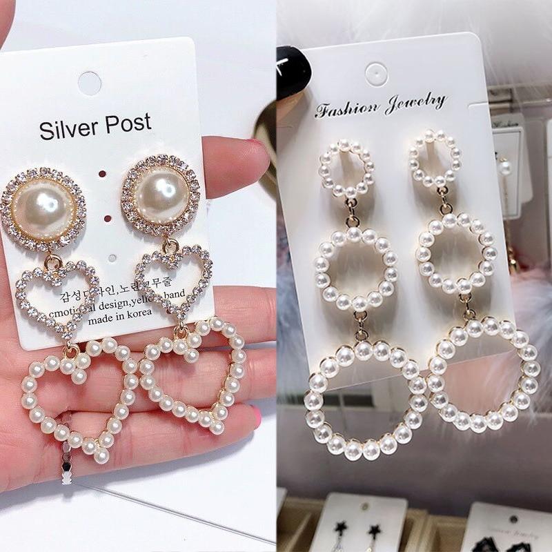 Pearl Earrings Female Temperament Long Korean Personality Simple Wild Net Red Ear Jewelry Long Love Pendant Tide
