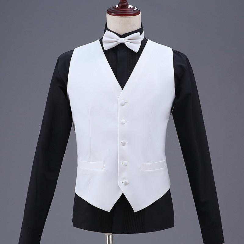 Classical Single-breasted Men Party Banquet Vest Formal Men's White Large Size Waistcoat Male Singer Presenter Stage Suit Vest