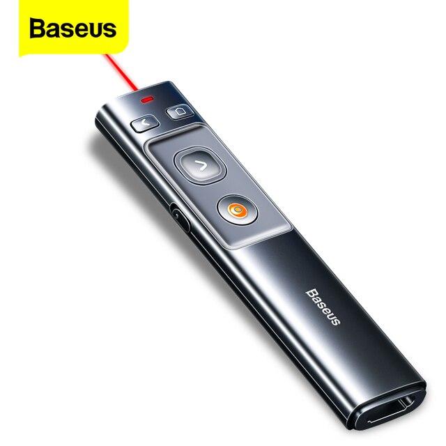 Baseus مقدم لاسلكي القلم 2.4Ghz USB C محول يده مؤشر التحكم عن بعد الأحمر القلم باور بوينت نقطة عرض مؤشر