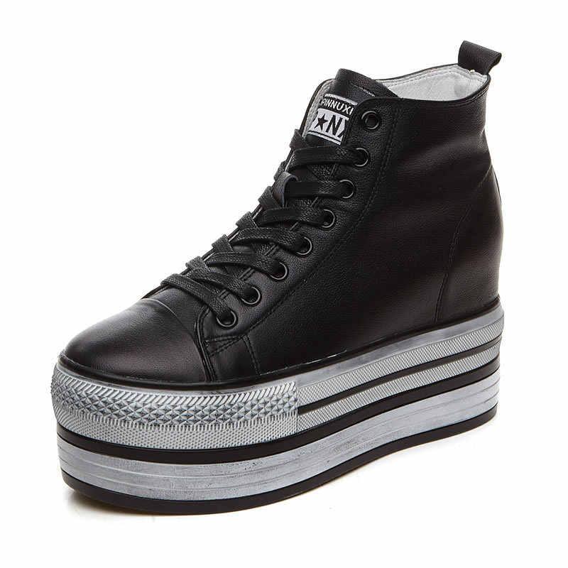 Baru Wanita Tinggi Top Tebal Sepatu Kulit Asli Casual Renda Sepatu Wedges Hip Hop Sepatu Hak Tinggi Creeper pompa