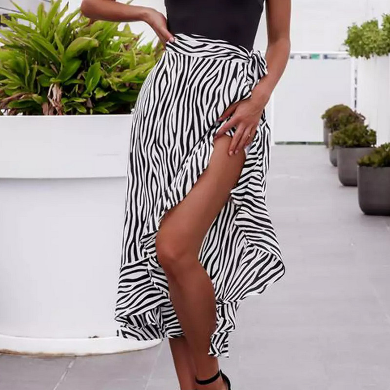 Women Summer High Waist High Split Zebra stripes Midi Skirt Pleated Chiffon Long Casual Boho Ruffles Casual Wrap Skirts