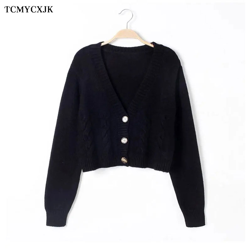 Short High Waist Slim Cable V-neck Sweater Women Spring And Autumn 2021 New Single-breasted Knitted Cardigan Twist Small Jackets 12