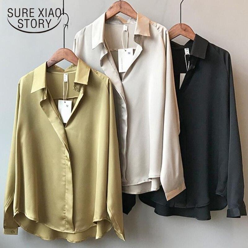 2019 Spring Women Fashion Long Sleeves Satin Blouse Vintage Femme V Neck Street Shirts Elegant Imitation Silk Blouse 5273 50