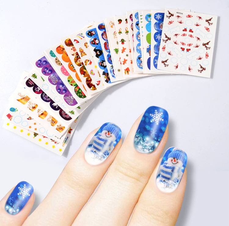 Cross Border Specifically For Foreign Trade Hot Selling Nail Sticker Christmas Watermarking Adhesive Paper Snowflake Nail Sticke