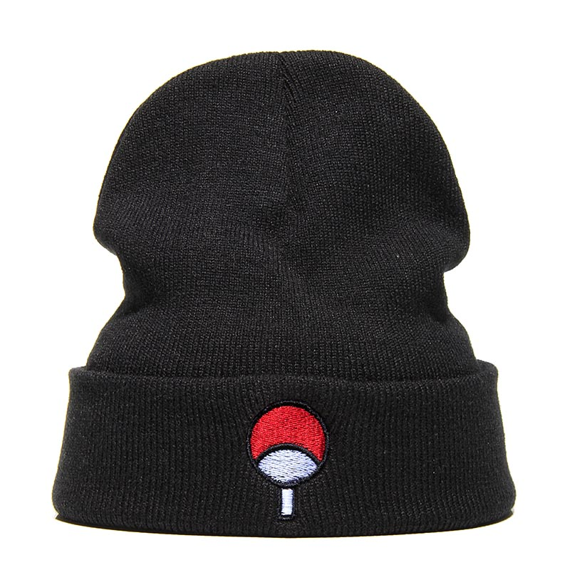 High Quality Winter   Beanie   Hats Embroider Japanese Anime Naruto Fashion Warm Cap Unisex Elasticity Knit   Beanie   Black Hip-hop Hat