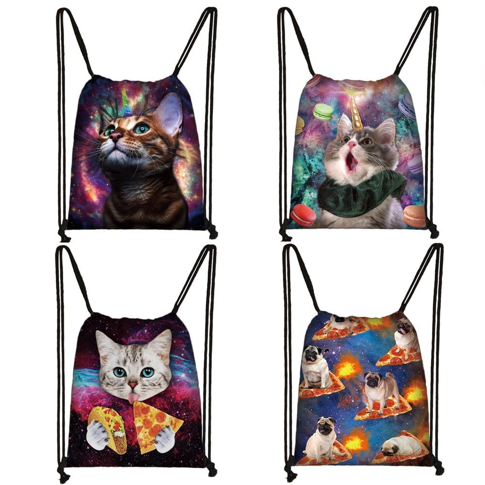 Cute Unicorn Cat Drawstring Bag Teenager Boys Girls Storage Bag Men Women Casual Travel Backpack Kids Bookbag Gift