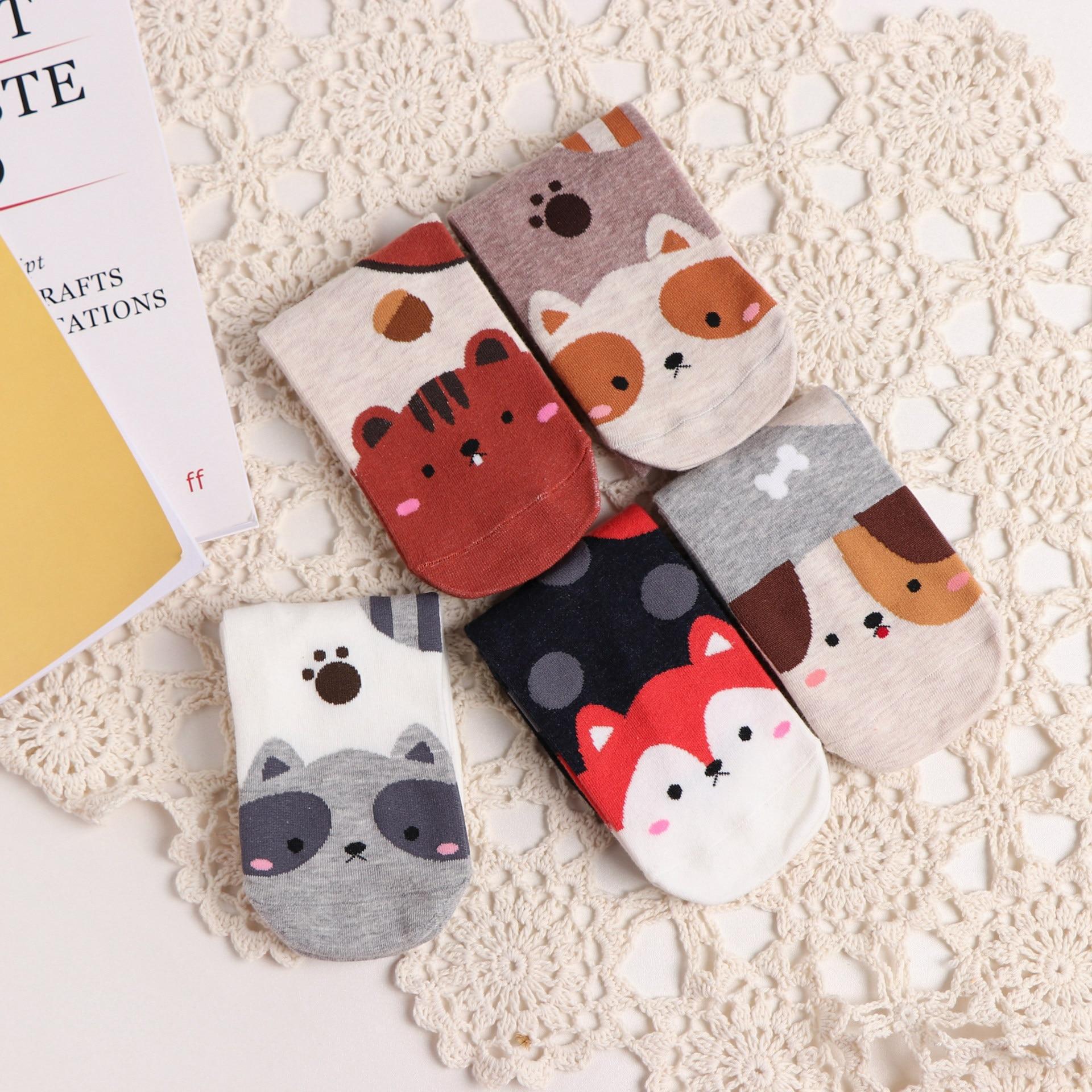 Cartoon Animal Squirrel Fox Polka Dot Socks Kawaii Dog Cute Funny Spring Autumn Women Cotton Socks XW8
