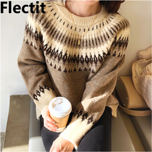 Flectit Fair Isle Sweater Women Long Sleeve Crew Neck Cozy Knit Autumn Winter Warm Sweaters *