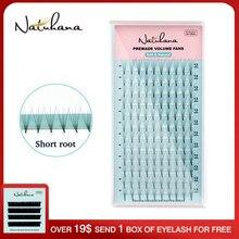 Natuhana cílios postiços de haste curta, volume de leque pré-fabricado à mão, 2d-6d, coreia, extensão de cílios, feitos à mão