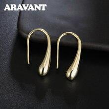 Женские серьги из серебра 925 пробы модные золотые с каплями
