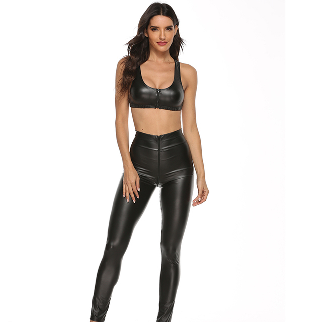 2PCS/Set Sexy PU Zipper Open Crotch Latex Pencil Pants With Vest Shiny Exotic Apparel High Elastic Clubwear Sex Party Costumes 1