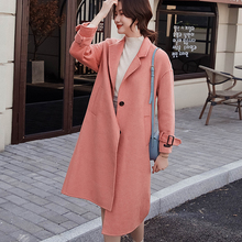Womens coat 2019 winter new double-sided pure cashmere ladies loose long-sleeved long thick wool