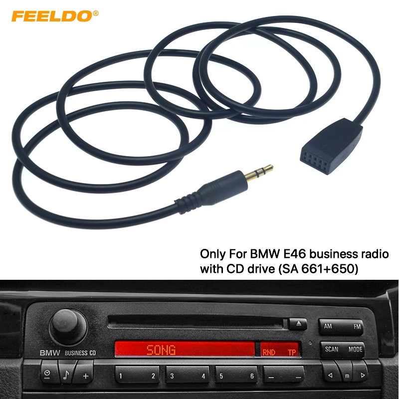 FEELDO 3.5mm Male Jack AUX Input Cable Adapter Only For BMW E46 With Business CD Radio Headunit #HQ6254