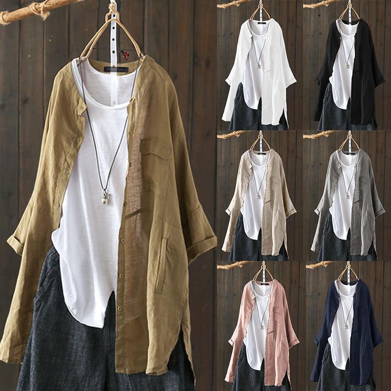 2019 Plus Size ZANZEA Autumn Tunic Tops Women Casual Solid Lapel Long Sleeve Vintage Cotton Linen Work OL Loose Shirts Blouse