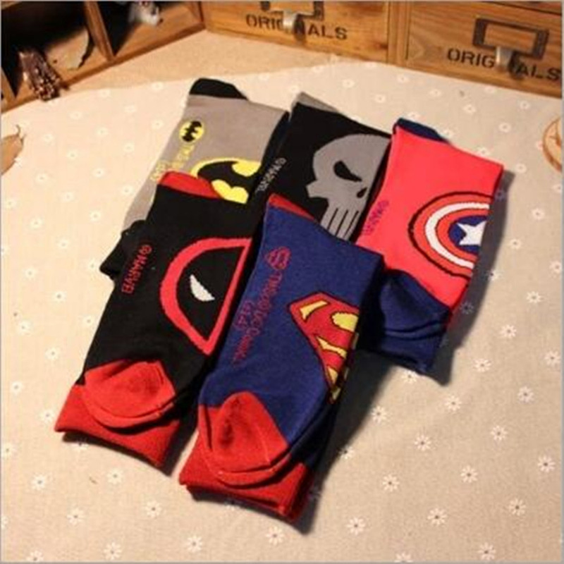 Captain America Punisher General Socks Deadpool Knee-High Warm Stitching Pattern Antiskid Invisible Casual Autumn Spring Winter