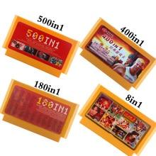 500 ב 1 משחק מחסנית וידאו משחקי זיכרון כרטיסי 180 400 ב 1 8 קצת 60 סיכות קונסולת עבור Nintend משחק קלאסי FC משחק כרטיסי 8in1