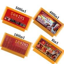 500 en 1 cartucho de juego tarjetas de memoria de videojuegos 180 400 en 1 8 Bit 60 pines consola para Nintendo game classic FC tarjetas de juego 8 en 1