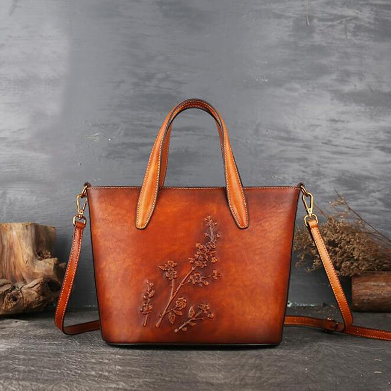 Luxury Embossed Floral Handbag Tote Women Bag Ladies Genuine Leather Shoulder Bags Women Vintage Design Tote Cowhide Purse Bag