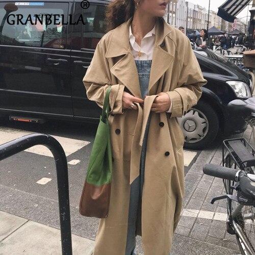 British Style Women Casual Long Plus Size   Trench   Coat Women Turn-Down Collar Elegant Warm Full Sleeve Belt Female Windbreaker