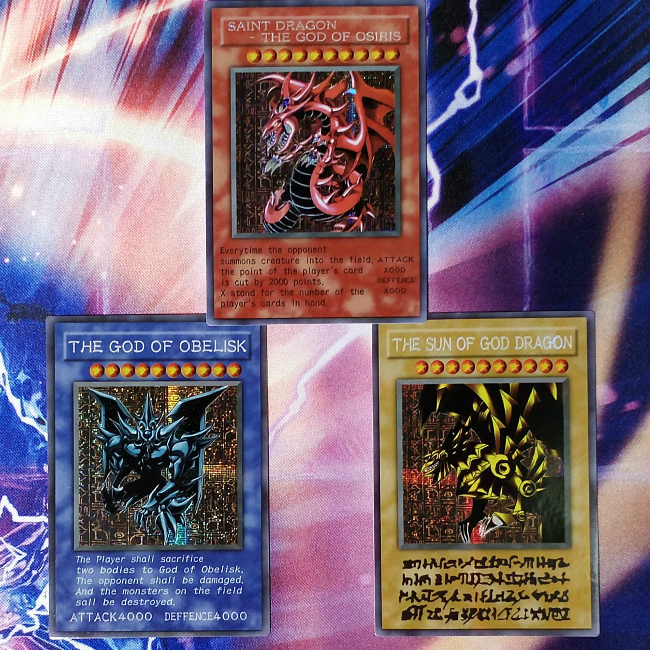 Yu Gi Oh 3pcs/set Egyptian God Obelisk The Tormentor DIY Colorful Toys Hobbies Hobby Collectibles Game Collection Anime Cards