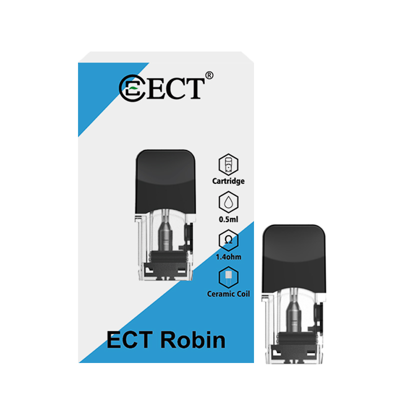 20PCS/4PCS/LOT ECT Robin Pod Cartridge Coils For Juul Electronic Cigarette Kit Vape 0.5ML Capacity 1.3/1.4Ohm Replacement Pods