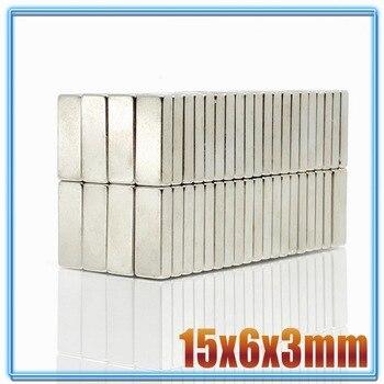 цена на 10/20/50/100/500pcs High Quality 15 x 6 x 3mm N35 Super Strong Magnet Block NdFeB Cuboid Rare Earth Neodymium Magnets 15*6*3