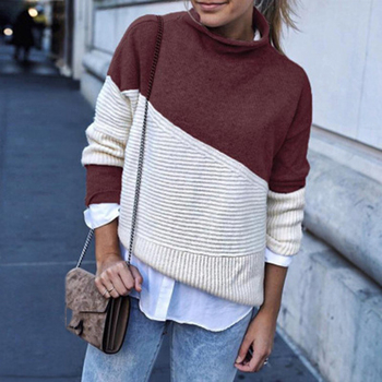 Women Pullover Sweater Autumn Winter Fashion Casual Long Sleeve Knitwear Tops Loose Half Turtleneck Knitted Sweater Female seily winter 2019 letter computer knitted yellow turtleneck sweater women zipper high neck long sleeve knitwear pullover sweter