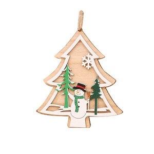 Image 5 - 1 pc nova árvore de natal ornamentos pendurado árvore de natal decoração de festa em casa 3d pingentes alta qualidade pingente de madeira decoração cor
