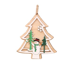 Image 5 - 1PC New クリスマスツリー装飾品クリスマスツリーホームパーティーの装飾 3D ペンダント高品質木製ペンダント装飾色