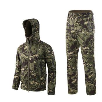 Na zewnątrz wodoodporne kurtki garnitur TAD V4 Softshell taktyczne polowanie strój odzież termiczna piesze wycieczki oddech kurtka i spodnie tanie i dobre opinie ESDY Poliester Mężczyźni i Kobiety 1 8kg NYLON Camping i piesze wycieczki Wodoodporna Wiatroszczelna Termiczne Antystatyczne