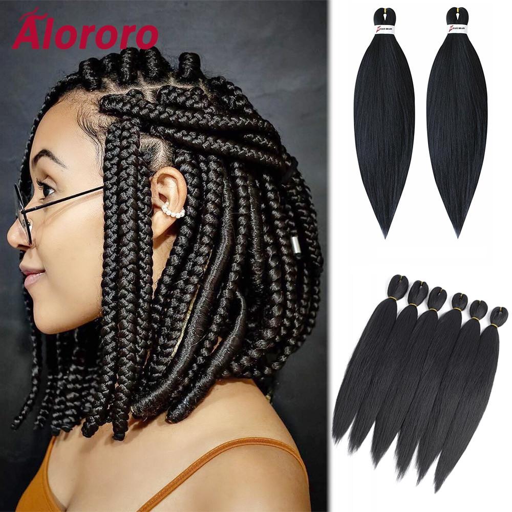 Alororo Ez Braids Pre Stretched Crochet Hair Low Temperature Fiber Synthetic Hair Extension Professional Braiding Hair
