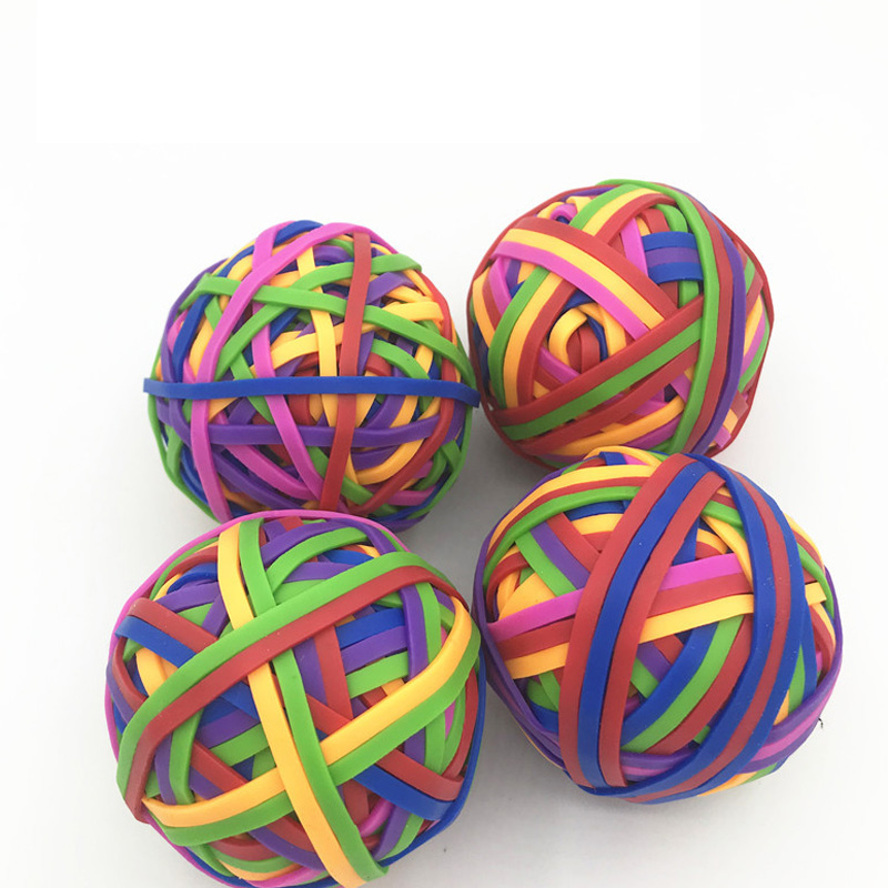 TOR Colorful Strong Elastic Rubber Band Loop 80g School Stationery Office Rubber Band Ball Super Stretch Assorted Color