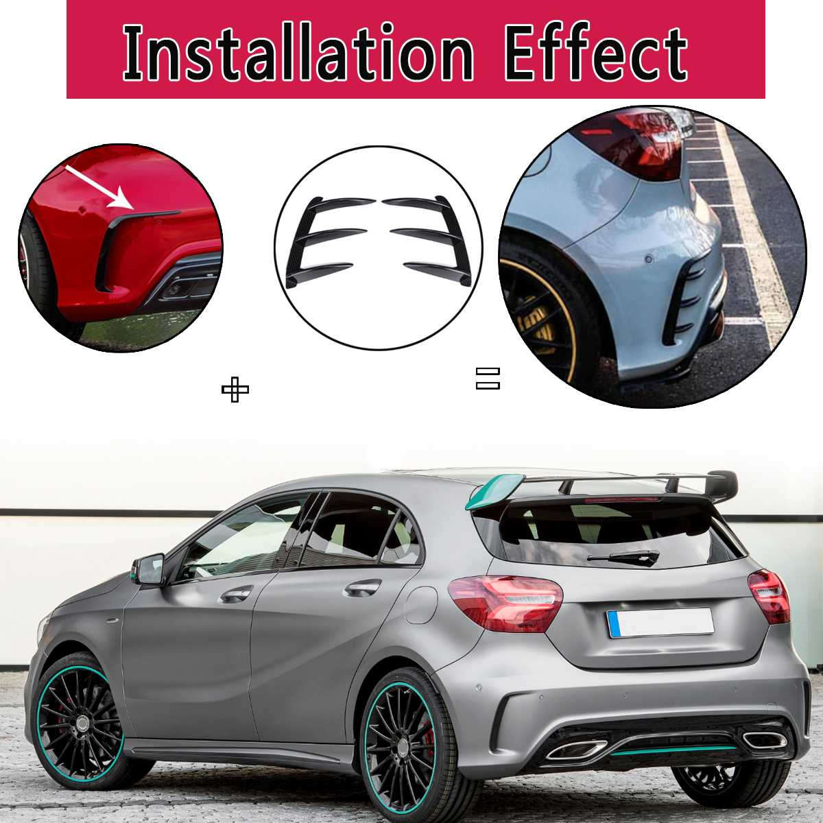 LQNB 1Pair Car Nero ABS Spoiler Paraurti Posteriore Spoiler Canard per Mercedes per W176 A200 A250 A45 per Amg 2013-2016