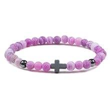 Hot 6MM Natuursteen Kralen Gebed Armband Meditatie Hematiet Cross Jesus Armbanden Armbanden Voor Mannen Vrouwen Sieraden Gift Pulsera