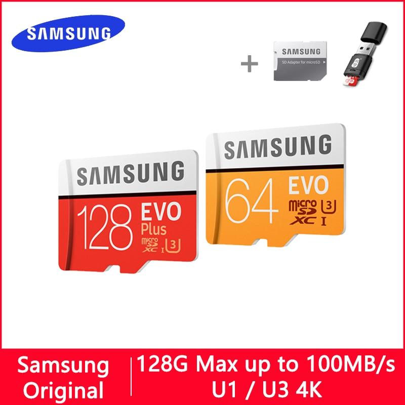 SAMSUNG EVO Micro SD de 32 GB 128 GB 64 GB 256GB 512 GB U1 U3 tarjeta Micro SD tarjeta de memoria 32 64 128 GB Flash tarjeta SD/TF MicroSD para teléfono