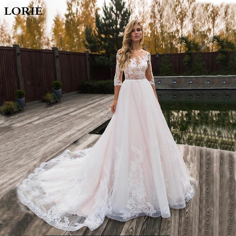 LORIE Elegant Lace Wedding Dress 2019 Vestidos De Novia  A Line Bridal Dress Half Sleeve Romantic Appliques Wedding Gowns