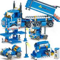 Kazi 318Pcs 4in 1 New Urban Freight Building Blocks Dumper Truck Bricks Educational Construction DIY Toys For Children