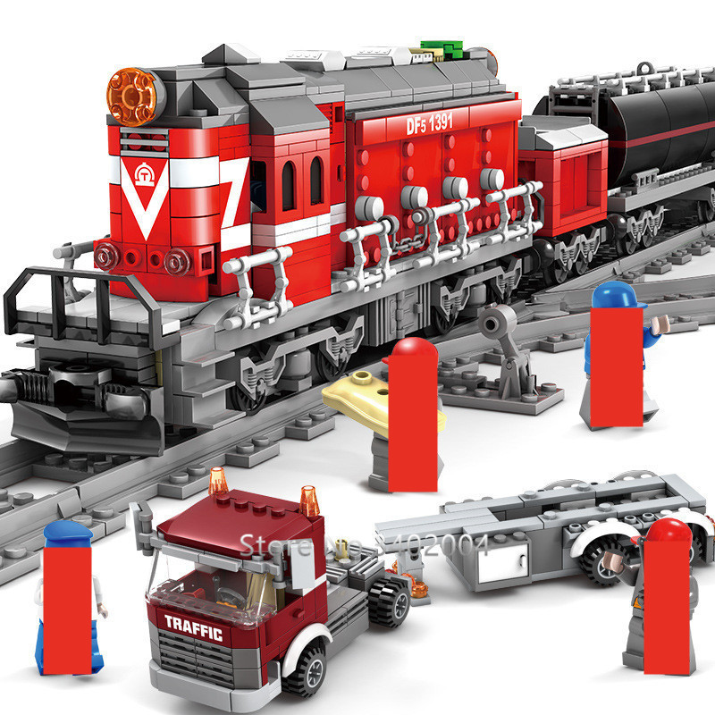 1080Pcs Technic Battery Operated DF5 Railway Train Brinquedos Building Blocks Conductor Driver Figures Flat Trailer Bricks Toys