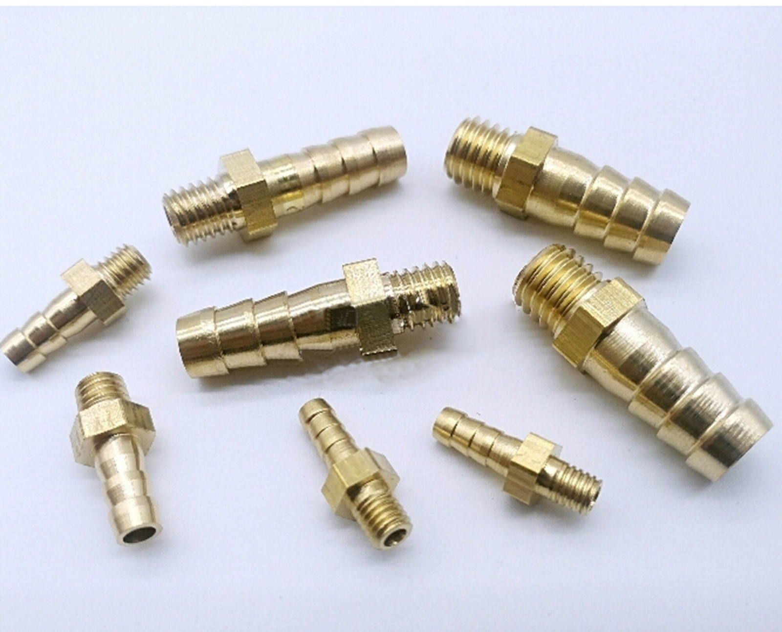 2.5 3 4 5 6 8 10mm Hose Barb To  M3 M5 M6 M8 Metric Male Mini Brass Hosetail Pipe Fitting Connector Water Gas Fuel Home Garden