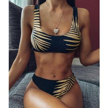 2020 New Sexy Gold Color Leaf Print Bikini Swimwear Women Swimsuit Bandeau Push Up Bikini Set Brazilian Bathing Suits Beach Wear