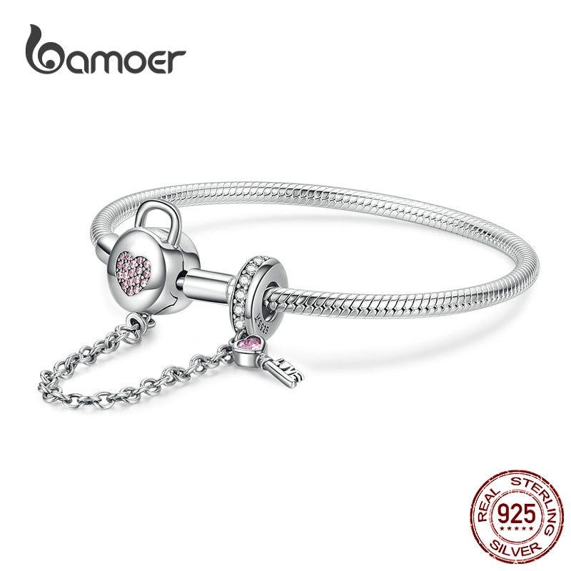 BAMOER Silver Snake Bracelets 925 Sterling Silver Pink CZ Heart Lock and Key Safety Chain Charm Bracelet for Women Gift SCB143(China)
